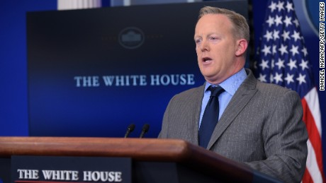 White House Press Secretary Sean Spicer delivers a statement in the Brady Briefing Room of the White House on January 21, 2017. / AFP / MANDEL NGAN        (Photo credit should read MANDEL NGAN/AFP/Getty Images)