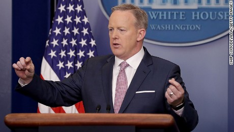 White House Press Secretary Sean Spicer holds the daily press briefing in the James Brady Press Briefing Room at the White House January 23, 2017 in Washington, DC.