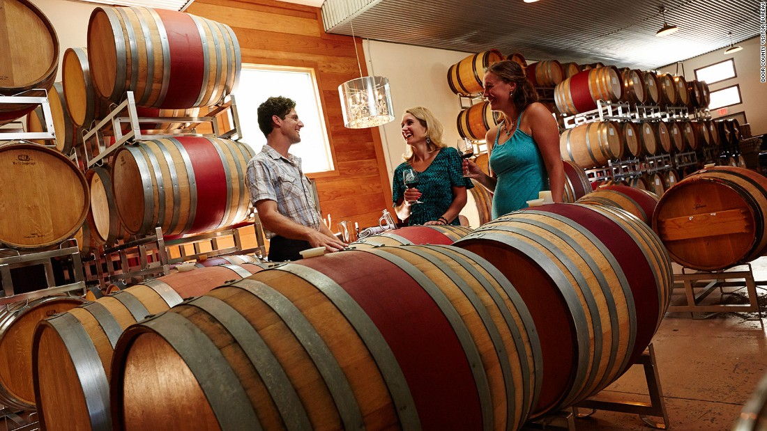 <strong>Door County, Wisconsin:</strong> This tranquil, Midwestern US lakeside destination has eight wineries on its Door County Wine Trail. The area is known for its fruit wines -- especially the locally grown tart cherries.