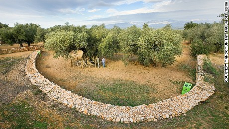 The 1,700-year-old Farga de l'Arión is protected by a small fence.
