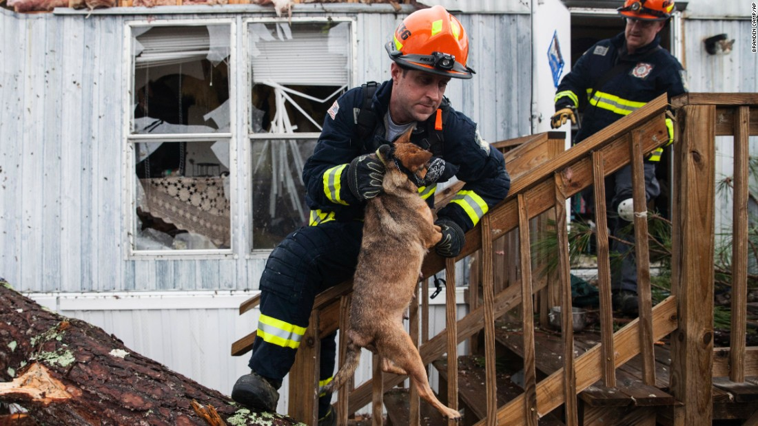 "A firefighter carries a dog that was trapped inside a mobile home in Albany, Georgia, on Monday, January 23. Fire and rescue crews have been searching through the debris after <a href=""http://www.cnn.com/2017/01/23/us/severe-weather/index.html"" target=""_blank"">severe storms</a> hit southern Georgia over the weekend."