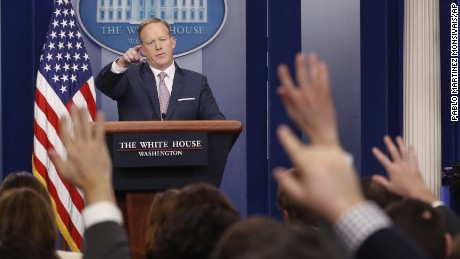 White House press Secretary Sean Spicer speaks during the daily White House briefing, Monday, January 23, 2017, in the briefing room of the White House in Washington.
