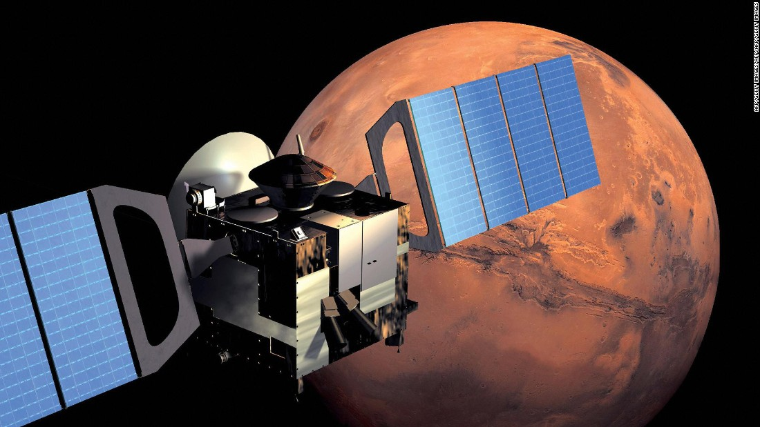 This artist impression from the ESA shows Mars Express in orbit around Mars.