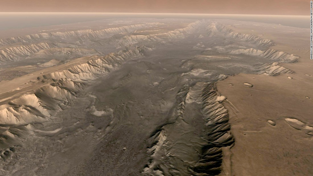 Taken from NASA's Mars Odyssey spacecraft, this composite image shows Mars' own Grand Canyon, Valles Marineris, on the surface of the planet. The Valles Marineris is 10 times longer, five times deeper and 20 times wider than Earth's Grand Canyon.
