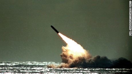 A Trident missile is launched by the US navy during a test in 1989.