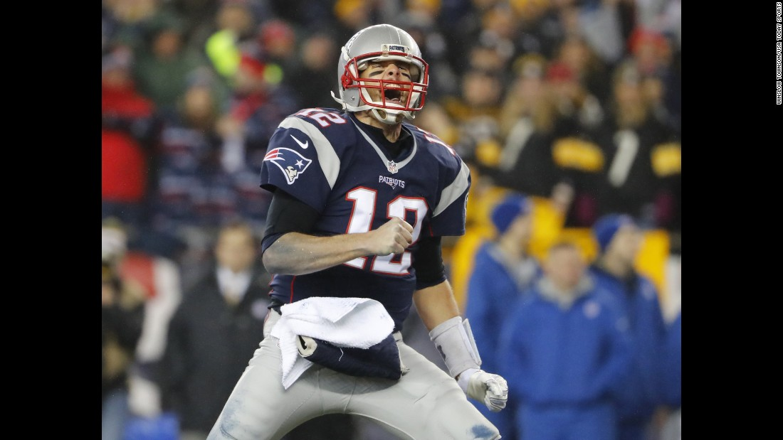 "New England quarterback Tom Brady celebrates after a third-quarter touchdown in the AFC Championship on Sunday, January 22. Brady and the Patriots defeated Pittsburgh 36-17 <a href=""http://www.cnn.com/2017/01/22/us/nfl-playoffs-nfc-and-afc-championship-games/index.html"" target=""_blank"">to earn a spot</a> in next month's Super Bowl. It will be the seventh Super Bowl for Brady, more than any other quarterback in NFL history. <a href=""http://www.cnn.com/2015/01/25/us/gallery/super-bowl-superlatives/index.html"" target=""_blank"">See more Super Bowl superlatives</a>"