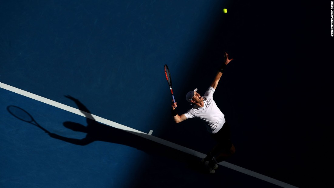 "Andy Murray, the world's No. 1 tennis player, serves at the Australian Open on Friday, January 20. Two days later, <a href=""http://edition.cnn.com/2017/01/22/tennis/andy-murray-tennis-mischa-zverev-australian-open/"" target=""_blank"">he was upset in the fourth round</a> by Mischa Zverev."