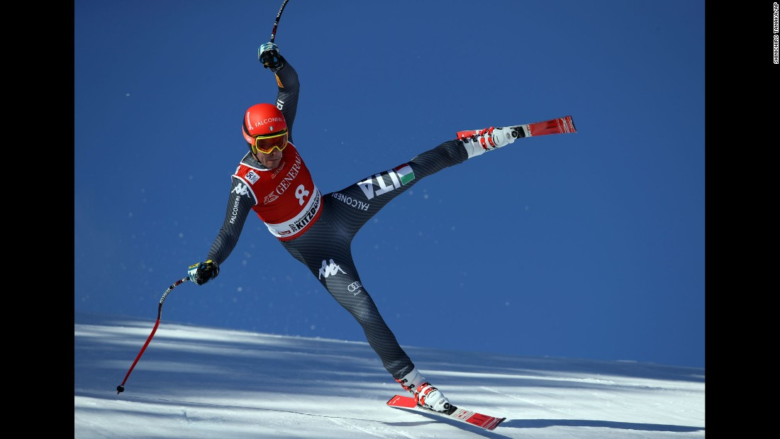 Italian skier Christof Innerhofer competes in a World Cup race in Kitzbuhel, Austria, on Friday, January 20.
