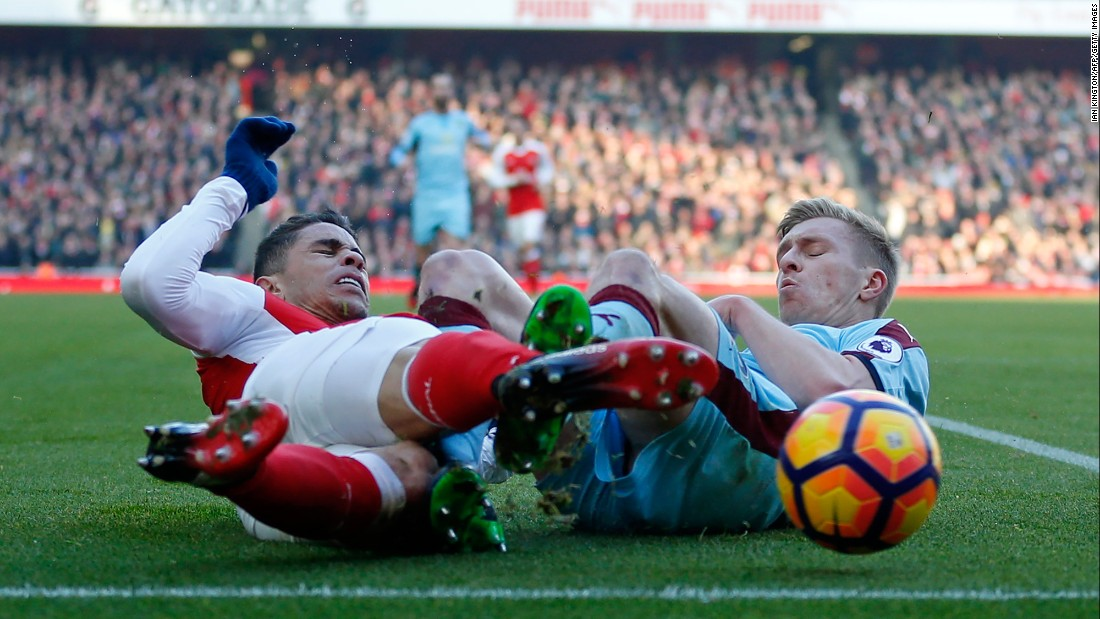 Arsenal defender Gabriel, left, collides with Burnley's Ben Mee during a Premier League match in London on Sunday, January 22.