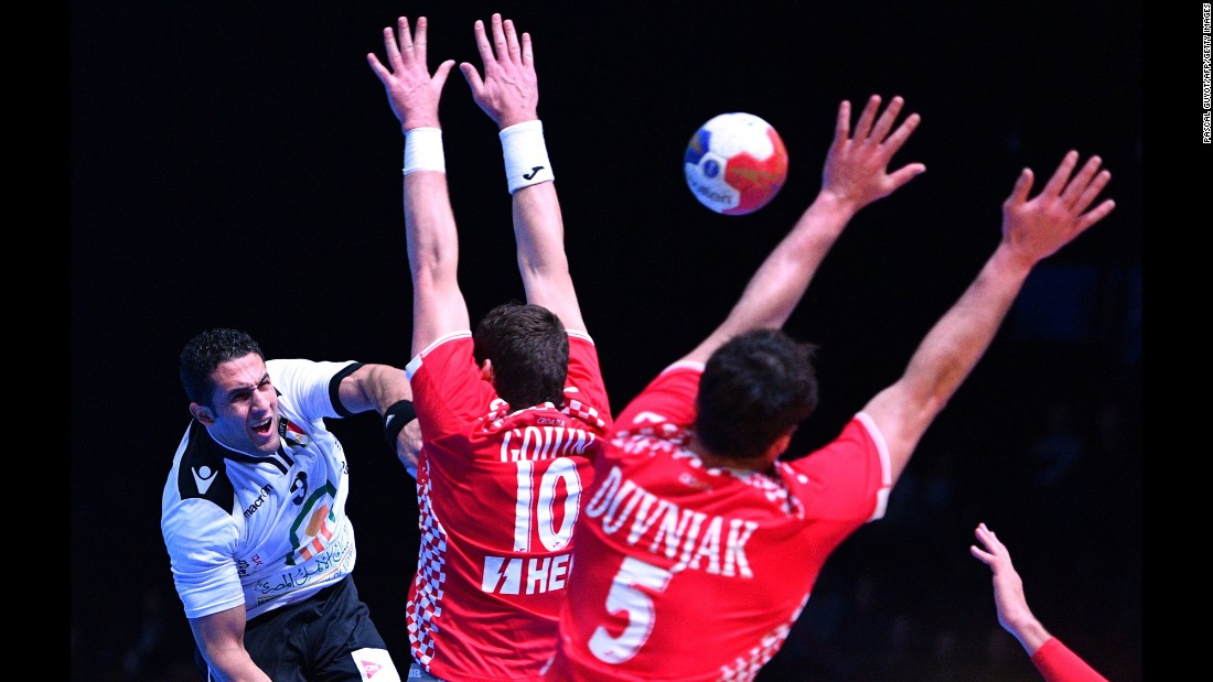 Egyptian handball player Eslam Issa takes a shot against Croatia during a World Championship match on Sunday, January 22. Croatia won 21-19 to advance to the quarterfinals.