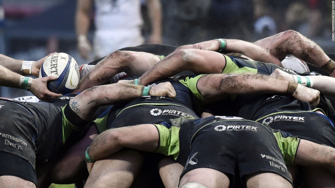 Players with Connacht Rugby, a professional team from Ireland, pack together during a Champions Cup match in Toulouse, France, on Sunday, January 22.