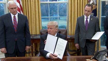 President Trump is promising a busy first week in office, hosting a breakfast with business leaders first thing Monday morning. He plans to issue three executive orders and will host a listening session with union leaders and another with congressional leaders later in the day. Can Trump smooth things out after a rocky weekend?