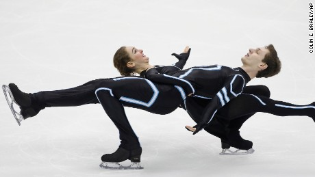 Elicia and Stephen Reynolds perform during the free dance competition at the U.S. Figure Skating Championships Saturday, Jan. 21, 2017, in Kansas City, Mo. (AP Photo/Colin E. Braley)