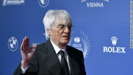 Formula One chief Bernie Ecclestone arrives for the FIA Prize Giving Gala at the Hofburg palace in Vienna, Austria on December 2, 2016.  Nico Rosberg abruptly quit Formula One, just five days after winning his first world title, leaving motor racing stunned and Mercedes looking for a new teammate for Lewis Hamilton. / AFP / APA / HERBERT NEUBAUER / Austria OUT        (Photo credit should read HERBERT NEUBAUER/AFP/Getty Images)