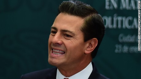 """Mexican President Enrique Pena Nieto gives a foreign policy speech after US President Donald Trump vowed to start renegotiating North American trade ties, in Mexico City on January 23, 2017. Trump's vows to scrap the North American Free Trade Agreement to protect US jobs have raised concern in Mexico, which sends most of its exports to the United States. Pena Nieto's office said he congratulated Trump on taking office in a phone call Saturday and that both had agreed to open a """"new dialogue."""" / AFP / Ronaldo SCHEMIDT        (Photo credit should read RONALDO SCHEMIDT/AFP/Getty Images)"""
