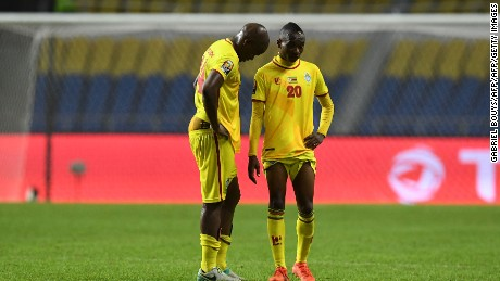 Zimbabwe's midfielders Willard Katsande and Khama Billiat (R) react at the end of the 2017 Africa Cup of Nations group A football match between Zimbabwe and Tunisia at the Stade de l'Amitie Sino-Gabonaise in Libreville on January 23, 2017. / AFP / GABRIEL BOUYS        (Photo credit should read GABRIEL BOUYS/AFP/Getty Images)