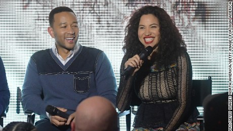 "Producer John Legend and actress Jurnee Smollett-Bell speak at WGN America's ""Underground"" panel at the 2017 Sundance Film Festival."