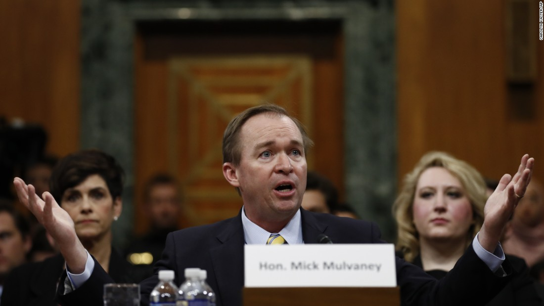 "Mulvaney testifies before the Senate Budget Committee in January. He <a href=""http://www.cnn.com/2017/01/24/politics/mick-mulvaney-hearings-omb/"" target=""_blank"">didn't back off his views</a> that entitlement programs need revamping to survive -- and he didn't back away from some of his past statements on the matter. President Donald Trump, during his campaign, pledged not to touch Social Security or Medicare."