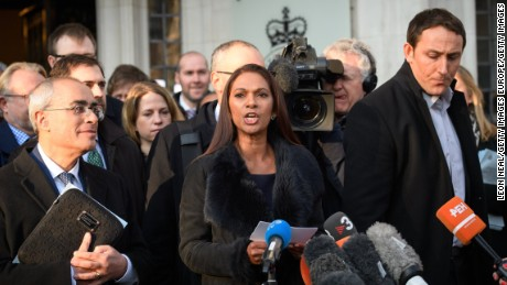 LONDON, ENGLAND - JANUARY 24:  Lead claimant Gina Miller speaking outside the Supreme Court on Tuesday.