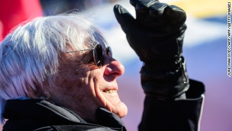 Formula One supremo Bernie Ecclestone attends the FIS World Cup men's downhill race at Hahnenkamm in Kitzbuehel, Austria on January 21, 2017. / AFP / Jure MAKOVEC        (Photo credit should read JURE MAKOVEC/AFP/Getty Images)