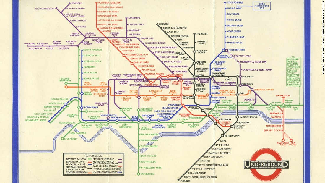In 1933 electrical draughtsman Harry Beck straightened out the sprawling squiggly lines of the London tube map, producing a map that was clear, concise and almost beautiful in its sense of order. A radical drawing at the time, the style is still used to help people navigate urban underground networks around the world.