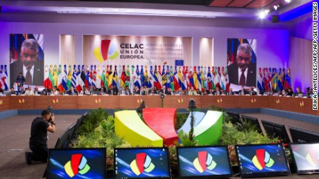 Dominican Foreign Minister Miguel Vargas Maldonado (on screens) delivers a speech during the opening of the XLVIII Senior Officials Meeting of the Community of Latin American and Caribbean States (CELAC) and the European Union (EU) in Santo Domingo, on October 24, 2016.  / AFP / afp / Erika SANTELICES        (Photo credit should read ERIKA SANTELICES/AFP/Getty Images)