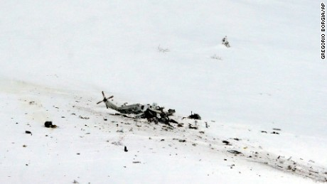 The helicopter came down in the Campo Felice ski area during a rescue operation.