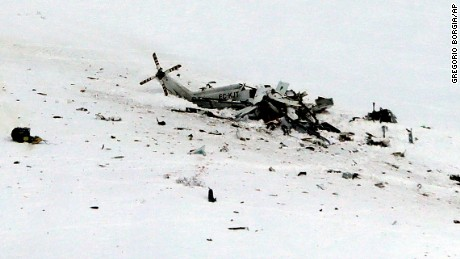 RETRANSMISSION TO PROVIDE ALTERNATIVE CROP - The wreckage of an helicopter lies in the snow after crashing in the Campo Felice ski area, central Italy, Tuesday, Jan. 24, 2017. A helicopter ferrying an injured skier off the slopes crashed Tuesday in central Italy with at least six people aboard, another tragedy to hit a region slammed by recent earthquakes, heavy snowfall and an avalanche. (AP Photo/Gregorio Borgia)