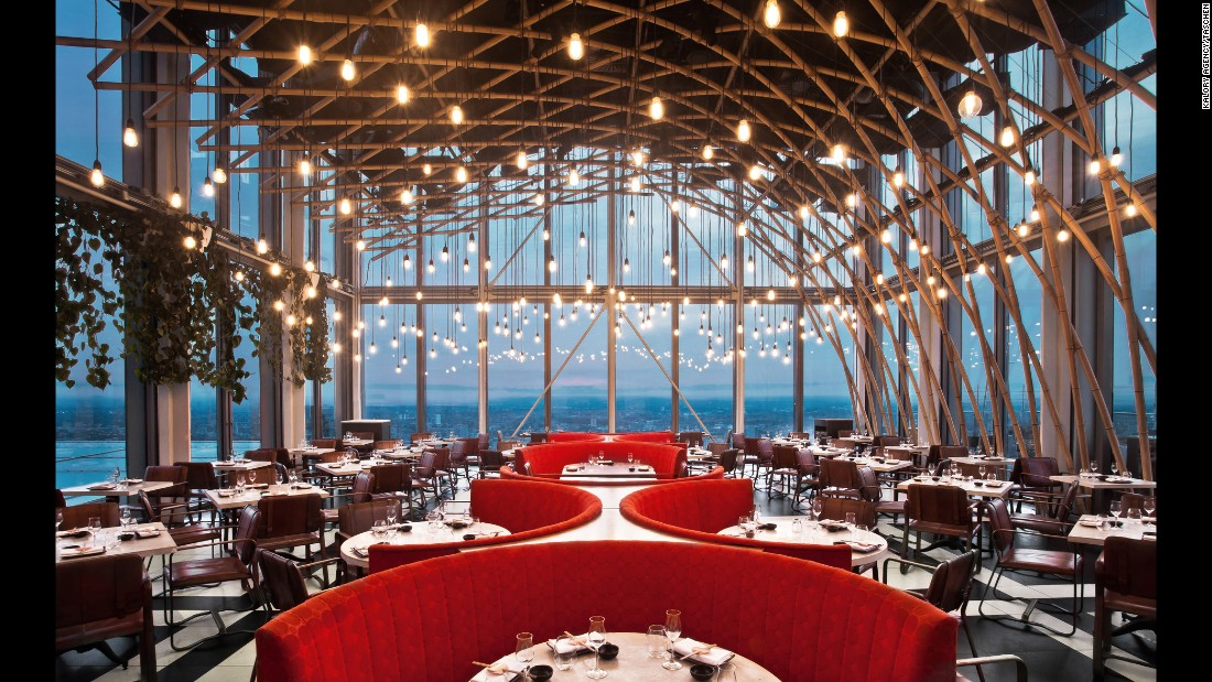 "<strong>SushiSamba, London: </strong>Designed by CetraRuddy, SushiSamba (shown here) and Duck & Waffle are both located in Heron Tower, the tallest building in the city of London. The design is meant to reflect  ""the merging of Japanese, Peruvian, Brazilian and English cuisines and cultures,"" the architects say."