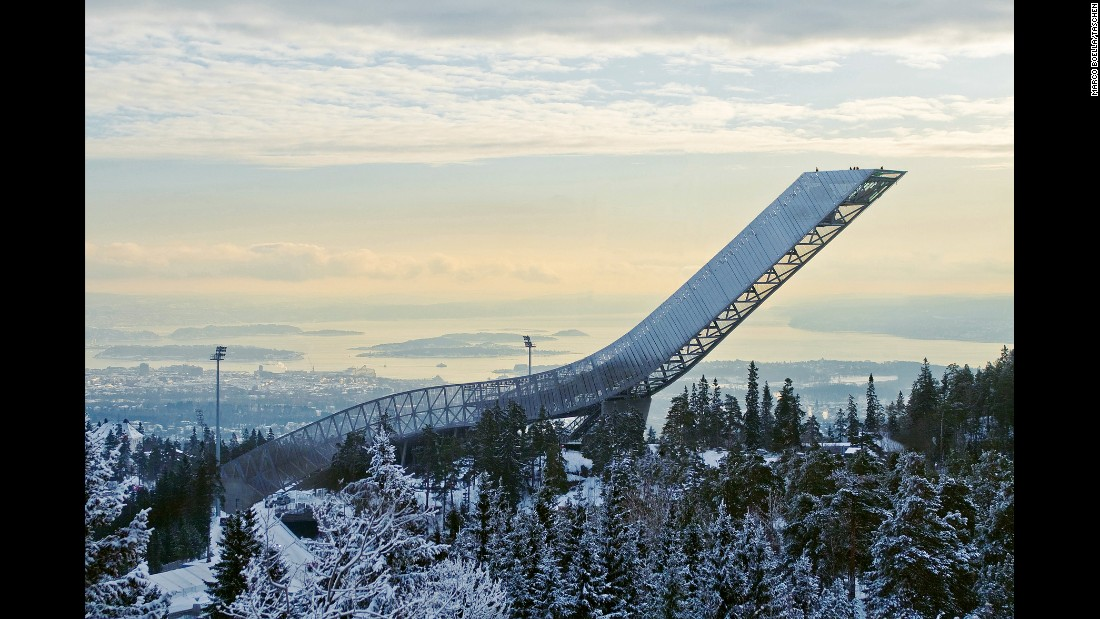 "<strong>Holmenkollen Ski Jump, Norway: </strong>At the highest point of the JDS-designed Holmenkollen Ski Jump in Oslo, the architects explain: ""Atop the ski jump is a platform where visitors can take in some of the most breathtaking views of Oslo, the fjord and the region beyond. It's a new form of public space, using an unlikely architectural form as its host."""