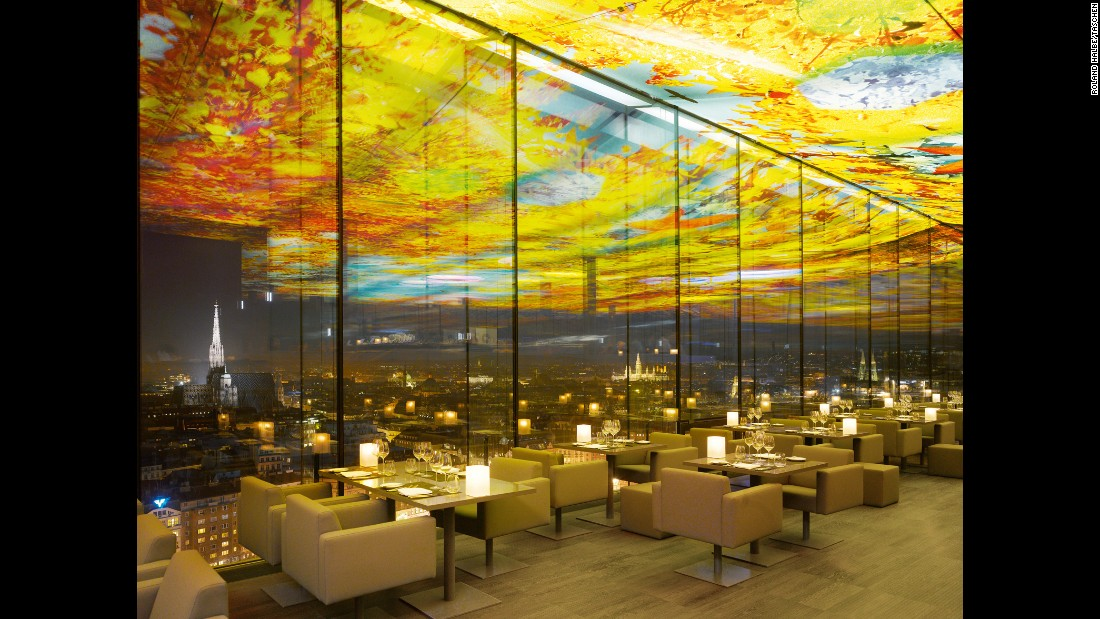 <strong>Le Loft Restaurant, Hotel Stephansdom, Vienna<strong></strong>:</strong> Designed by Jean Nouvel in collaboration with Swiss artist Pipilotti Rist, the rooftop restaurant combines Rist's willfulness with Nouvel's strict lines. There's more art to be created by chef Fabian Günzel.