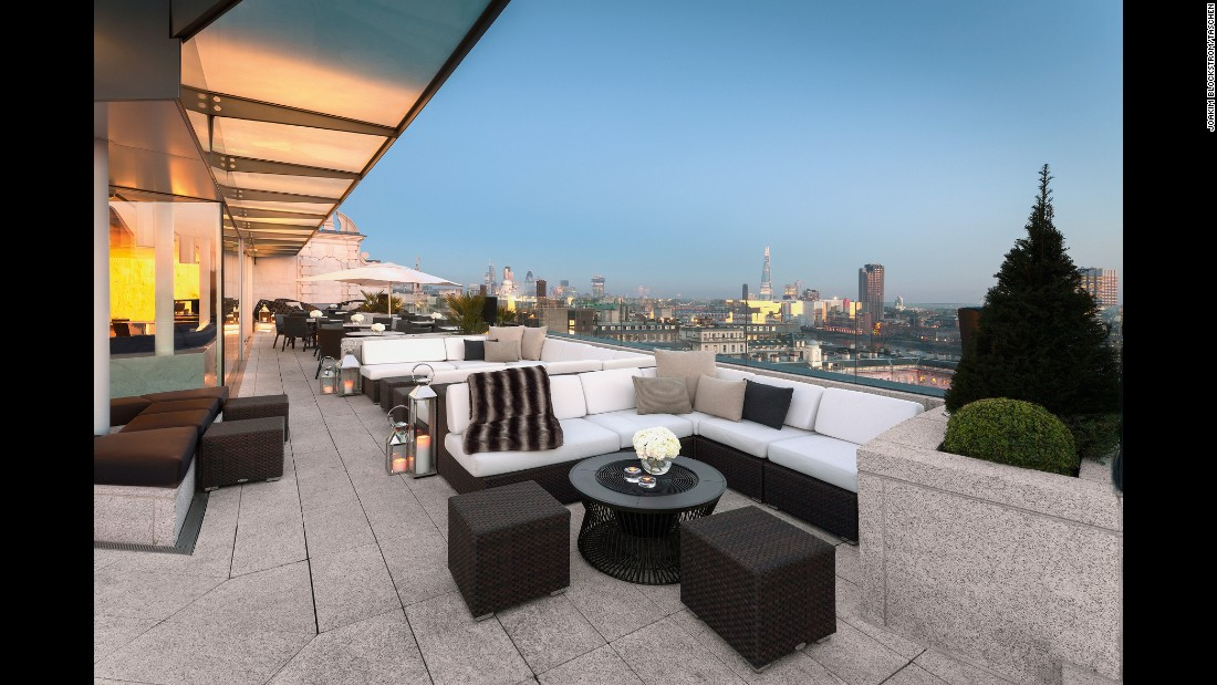 <strong>Radio Rooftop Bar, ME London, England.</strong> Located on the tenth and top floor of the ME London, a five-star hotel designed by Foster + Partners, the bar's name comes from the site's original use as the home of the BBC on the Strand. The bar has inside and outside seating and 180 degree views.