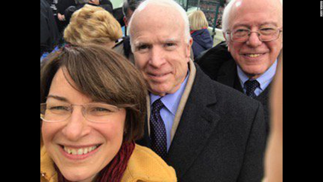 "US Sen. Amy Klobuchar takes a selfie with fellow Sens. John McCain, center, and Bernie Sanders as they attended <a href=""http://www.cnn.com/interactive/2017/01/politics/trump-inauguration-gigapixel/"" target=""_blank"">the inauguration of Donald Trump</a> on Friday, January 20. ""A bit of camaraderie,"" <a href=""https://twitter.com/amyklobuchar/status/822496994249867268"" target=""_blank"">the Minnesota senator tweeted.</a> ""My seat mates at the inauguration."""