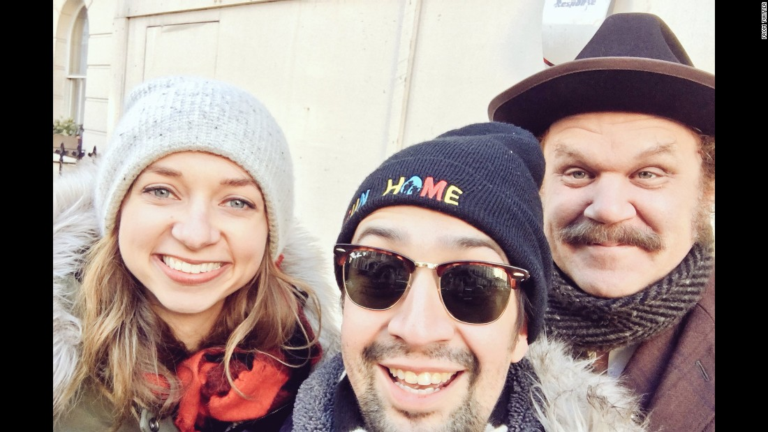 "Lin-Manuel Miranda, center, <a href=""https://twitter.com/Lin_Manuel/status/822818170033545217"" target=""_blank"">takes a selfie</a> with fellow actors Lauren Lapkus and John C. Reilly during the Women's March in London on Saturday, January 21. <a href=""http://www.cnn.com/2017/01/21/politics/womens-march-wrap/"" target=""_blank"">Marches were held</a> in London, Washington and many other cities across the world to show support for women's rights and express discontent over the election of US President Donald Trump."