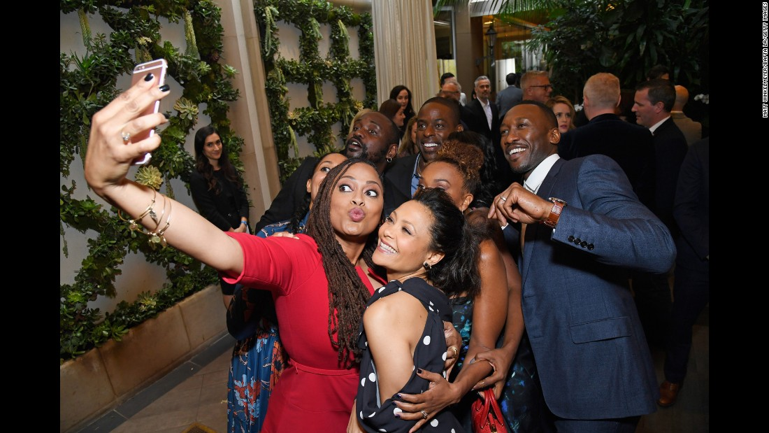 Film director Ava DuVernay takes a selfie with a group of actors at the BAFTA Tea Party in Los Angeles on Saturday, January 7. The actors around DuVernay, starting from bottom right and going counter-clockwise, are Thandie Newton, Ryan Michelle Bathe, Mahershala Ali, Sterling K. Brown, Brian Tyree Henry and Tracee Ellis Ross.