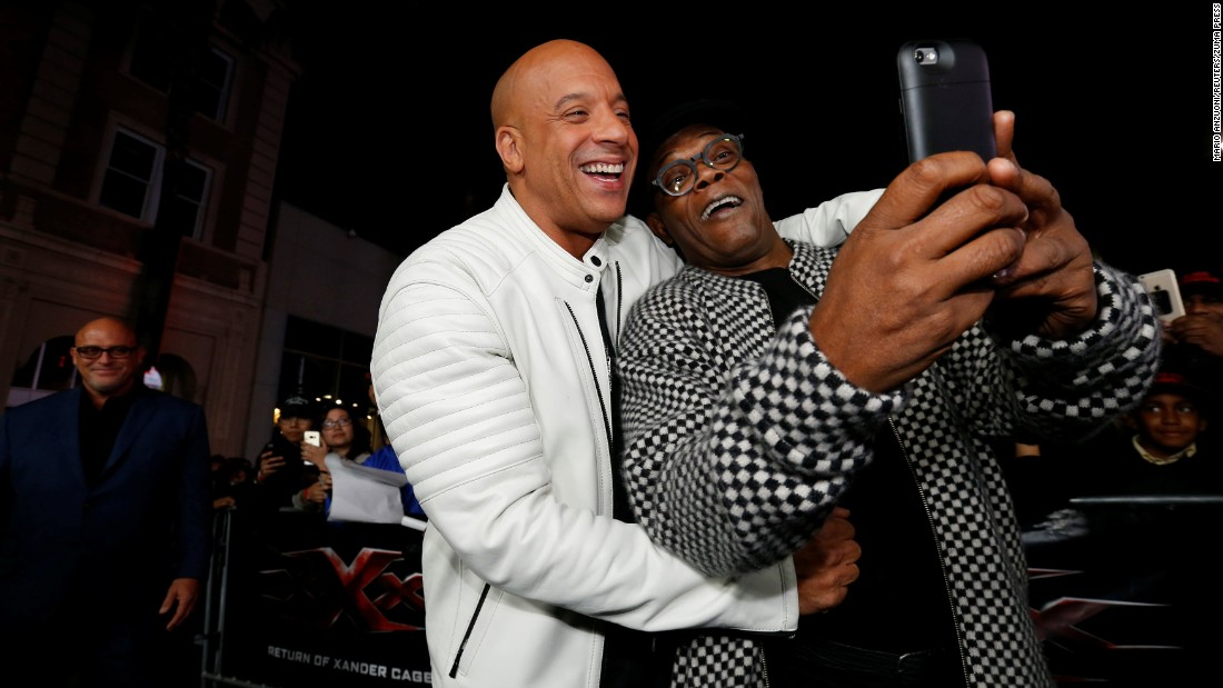 "Vin Diesel, left, and Samuel L. Jackson -- stars of the new movie ""xXx: Return of Xander Cage"" -- take a selfie at the film's Hollywood premiere on Thursday, January 19."