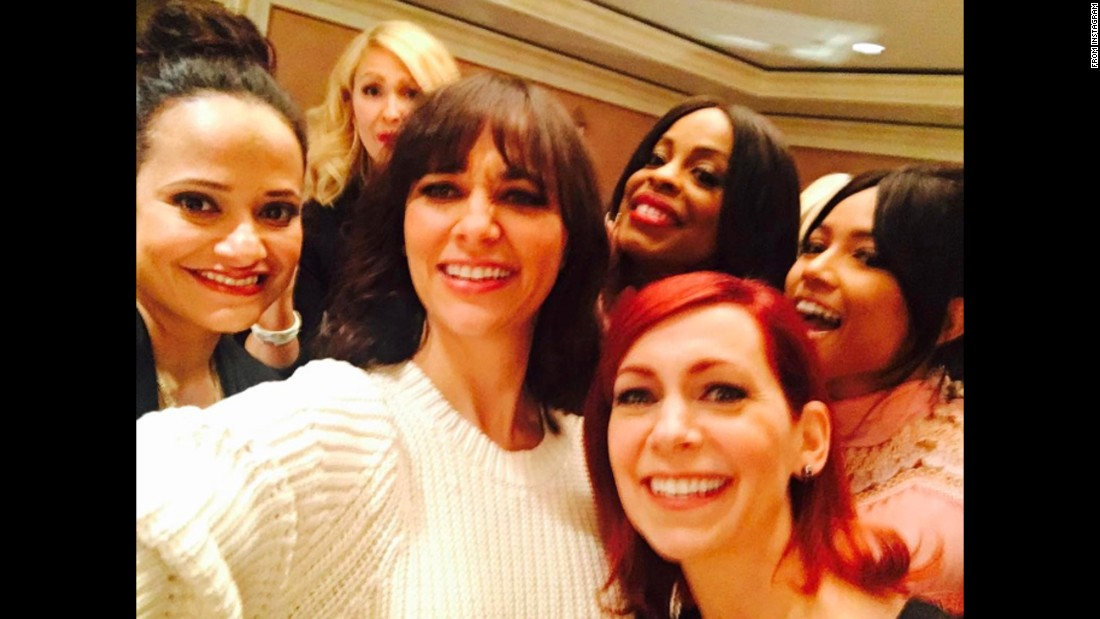 "Actress Carrie Preston, bottom right, <a href=""https://www.instagram.com/p/BPQoVtZDceb/"" target=""_blank"">posted this selfie</a> with her ""Claws"" co-stars -- from left, Judy Reyes, Jenn Lyon, Rashida Jones, Niecy Nash and Karrueche Tran -- on Saturday, January 14."