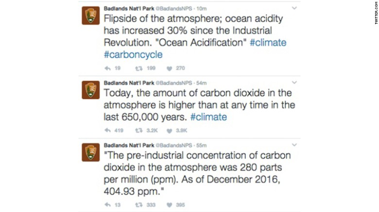 Badlands park deletes climate change tweets