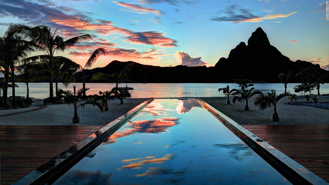 <strong>Villa Aata, Bora Bora, Tahiti:</strong> Located on the distant South Pacific island, stunning views from the villa include the peaks of neighboring Tahaa and Raiata islands.