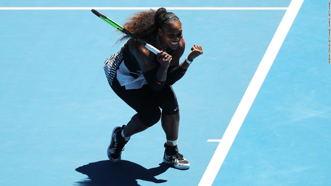 Serena Williams, aged 35, reached her 10th consecutive grand slam semifinal by beating Britain's Johanna Konta 6-2 6-3.