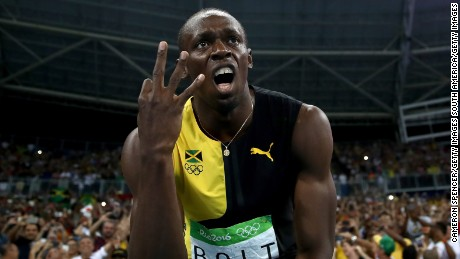 RIO DE JANEIRO, BRAZIL - AUGUST 19:  Usain Bolt of Jamaica celebrates after winning the Men's 4 x 100m Relay Final on Day 14 of the Rio 2016 Olympic Games at the Olympic Stadium on August 19, 2016 in Rio de Janeiro, Brazil.  (Photo by Cameron Spencer/Getty Images)