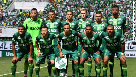 The new players of Chapecoense pose before a friendly football match against Palmeiras -Brazilian Champion 2016- at the Arena Conda stadium in Chapeco, Santa Catarina state, in southern Brazil on January 21, 2017.  Most of the members of the Chapocoense football team perished in a November 28, 2016 plane crash in Colombia. / AFP PHOTO / NELSON ALMEIDANELSON ALMEIDA/AFP/Getty Images