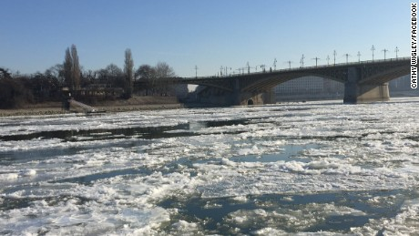 "Parts of the river in Budapest, Hungary, started to freeze earlier in the month. ""It was minus 17 celsius,"" Cathy Wigley told CNN."