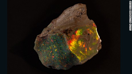 The Fire of Australia opal goes on public display at the South Australian Museum.