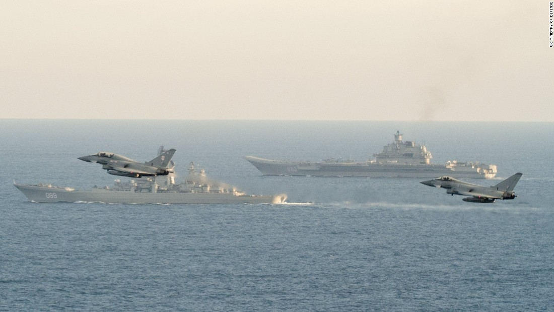 RAF Typhoon fighters fly near the Russian aircraft carrier on January 25.