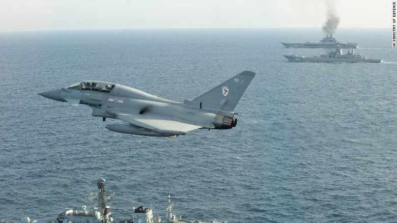 a royal air force typhoon fighter from britain quick reaction alert force flies near the russian