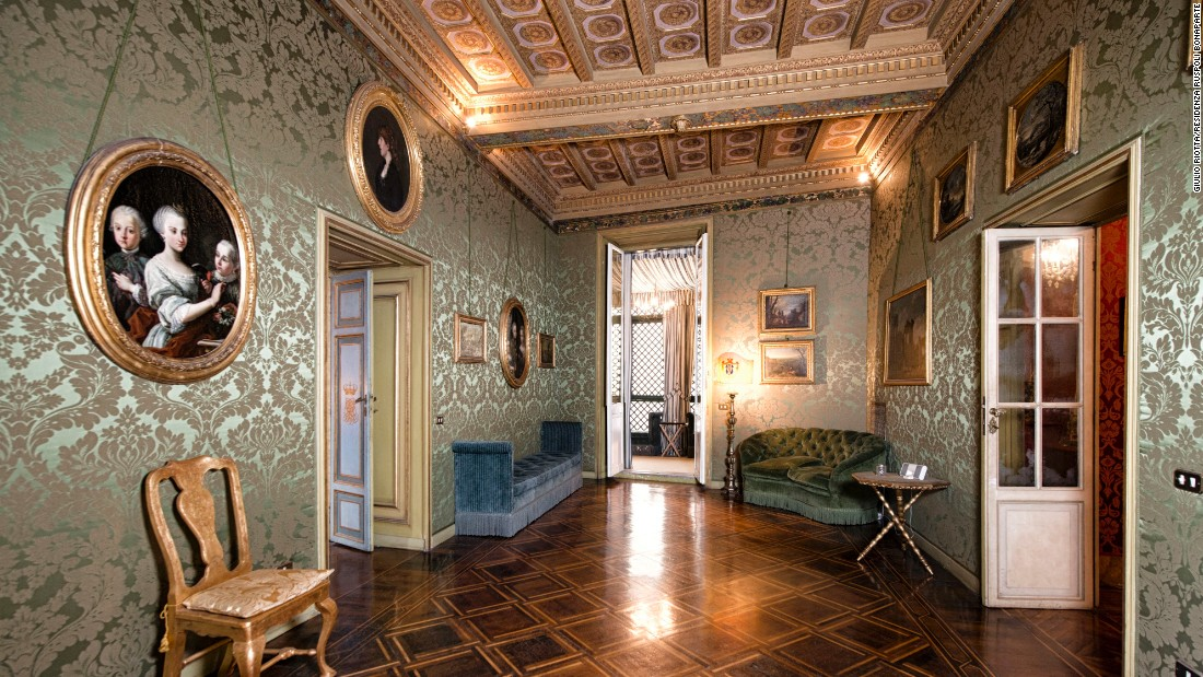 Gilt, damask-covered walls, parquet floors and rich velvet upholstery greet guests at the Ruspoli residence, located near the Spanish Steps in the heart of Rome.