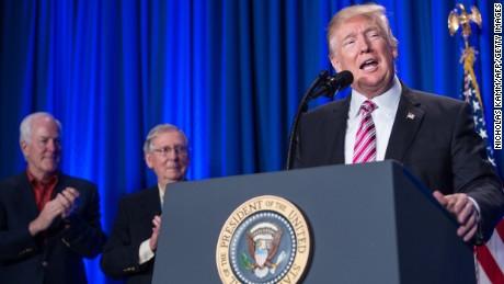 US President Donald Trump addresses a Republican retreat in Philadelphia on January 26, 2017. / AFP / NICHOLAS KAMM        (Photo credit should read NICHOLAS KAMM/AFP/Getty Images)