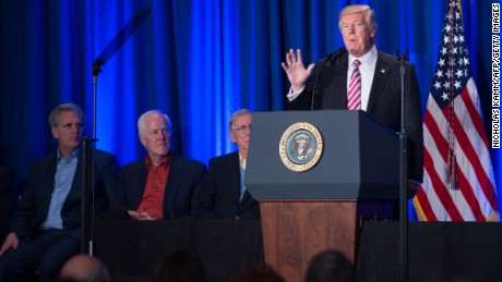 "US President Donald Trump addresses a Republican retreat in Philadelphia on January 26, 2017. US President Donald Trump said Thursday that talks with his Mexican counterpart Enrique Pena Nieto -- now called off -- would have been ""fruitless"" if Mexico is unwilling to pay for a wall along the countries' common border. / AFP / NICHOLAS KAMM        (Photo credit should read NICHOLAS KAMM/AFP/Getty Images)"