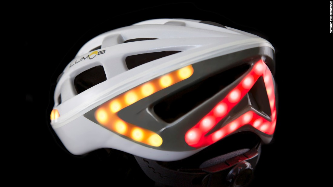 Lumos, which its creators claim is the world's first smart bicycle helmet, flashes brake lights and turn signals when the wearer slows down.